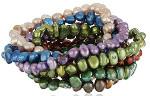 Multicolor Cultured Pearl Seven-Piece Stretch Bracelet Set