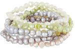 7 Pastel Colors Cultured Pearl Stretch Bracelet Set