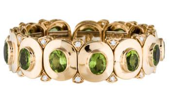 18K Peridot & Diamond Bracelet