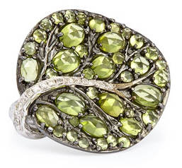 Botanical Leaf Peridot Ring with Diamonds
