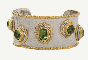 VICTOR VELYAN Peridot And White Patina Cuff