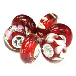 Red Flower European Style Glass Bead Charm Bundle