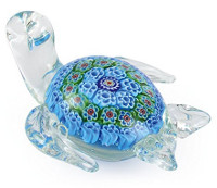 Millefiori Art Glass Turtle  Paperweight